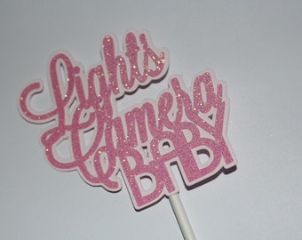 Hollywood Baby Cupcake Topper, Lights Camera Baby