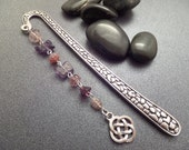 Celtic Knot Bookmark in silver with Purple Beads, Book lovers Romantic Gift, Silver Hook, Library Decor