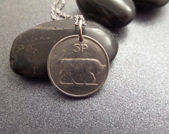 Irish Coin Necklace with Bull Design, Taurus Birthday Gift, Vintage Coin Pendant 1978 Five Pence, April Birthday