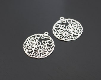 Matte Silver Circle Oriental Connector, Pendants, Charms, Earring Findings, 2 pc, B56532