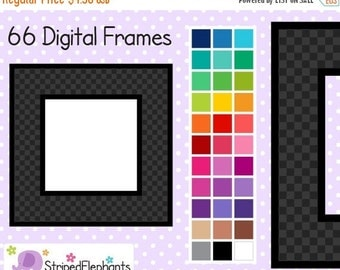 50% OFF SALE Checked Square Clip Art Digital Frames - Instant Download - Commercial Use