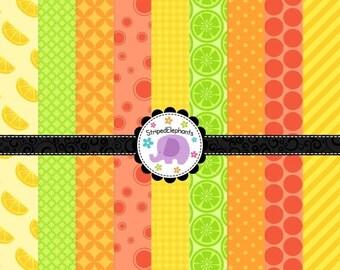 50% OFF SALE Digital Paper Pack -  Mega Citrus Digital Scrapbook Paper Pack - Instant Download - Commercial Use