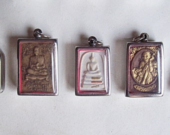 5 Thai Buddhist Buddha Clay Amulet Medallions Pendants Set Jewelry Craft Supplies