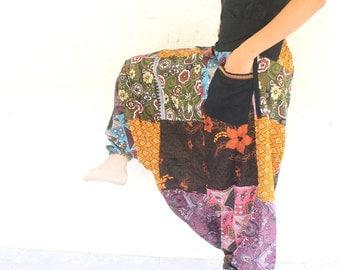 pathcwork Thai batik sarong harem pants handmade Thai batik sarong,yoga,spa,hippie, boho,bohemian, gypsy,jumpsuit,genie ,baggy trousers