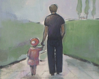 Father and Daughter Walk - Dad original acrylic painting on cradled wood panel - Father's Day gift