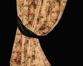 "Two PAIR Extra Long 109"" Fully Lined Drapes With Wood Rings in Red Rose Floral Print on Herringbone Weave"