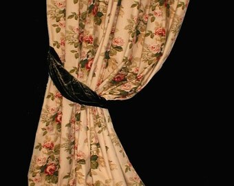 """Two PAIR Extra Long 109"""" Fully Lined Drapes With Wood Rings in Red Rose Floral Print on Herringbone Weave"""