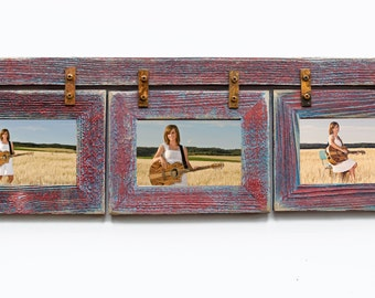 Barnwood collage frame 3 hole 5x7 multi opening frame rustic for Cadre multi photos mural