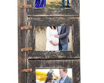 Barnwood Collage Frame 3 hole 8x10 Multi Opening Frame-Rustic Picture Frame-Reclaimed-Landscape or Portrait-Collage Frame