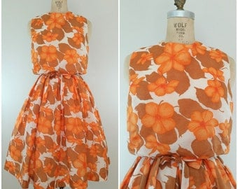 Vintage 1960s Dress / Orange Floral / Blouson Dress / Small