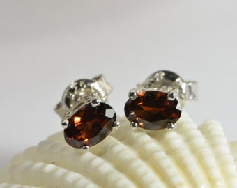 Red Garnet Earrings Stud Earrings Wire Stud Earrings Sterling Silver Earrings