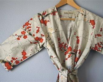 Gray Kimono Robe. Grey Kimono.  Dressing Gown. Modern Kimono Garden Grey Kimono. Knee Length. Small thru Plus Size Kimono Robe 2XL.