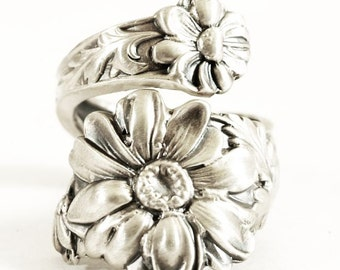 Daisy Ring, Sterling Silver Spoon Ring, Boho Ring, Botanic Jewelry, Handcrafted Ring, Gift for Her, Custom Ring Size, Daisy Flower Ring 4147