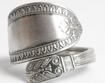 Antique German 800 Silver Spoon Ring, Antique Spoon Ring, Impressionism German Jewelry, Gift for Him, Simple Ring, Adjustable Ring (6062)