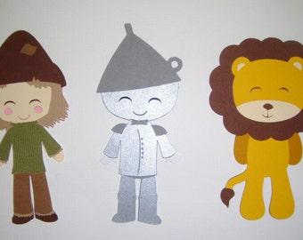 Wizard of Oz Lion Tinman Scarecrow Paper Die Cut Paper Doll Scrapbook Embellishment