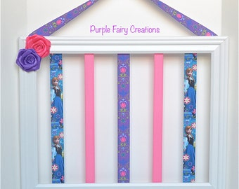 15% OFF Frozen Accessories Organizer Picture Frame - Blue, Purple, Pink, Elsa, Anna, Hooks (Hair Bow & Headband Holder) Baby, Girl Room