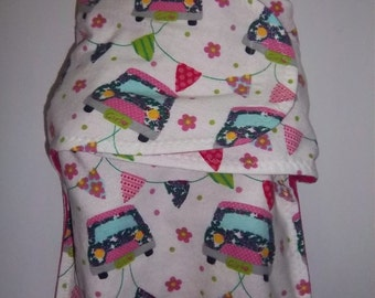 Baby Doll Swaddling/ wrap Blanket, size medium(up to 17 inch dolls) - Girly car, flowers, polka dots