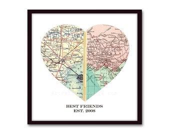Map Heart Art, Long Distance Friendship, Best Friend Gift, Map Art, Long Distance Love, Gift for Friend, Birthday Gift, for Best Friends