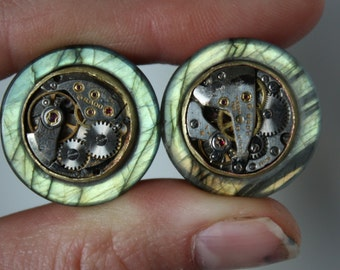 "3/4"" Watch Movement Inlay Labradorite Plugs"