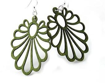 Large Flower Earrings - Wood