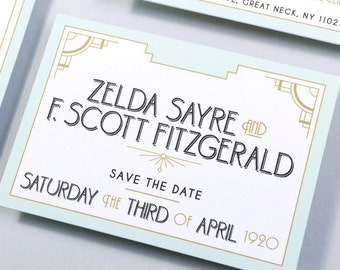 Save The Date Card: Long Island - Twenties Wedding Stationery - 20s Save the Date - Art Deco Save The Date