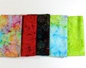 Quiltsy Destash Party - Batik Fabric Bundle 5 Fat Quarters Bright Mulit Colors Quilting Weight