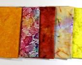 Quiltsy Destash Party - Batik Fabric Bundle 5 Fat Quarters Bright Autumn Colors Quilting Weight
