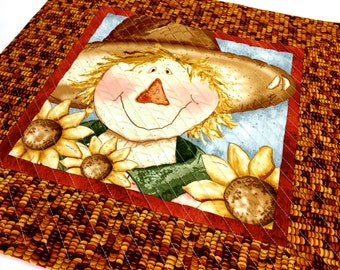 Scarecrow Quilted Wall Hanging - Fiber Art Table Topper - Halloween Fall Decor - Table Topper Quilt - Autumn Wall Art - Sally Manke Handmade