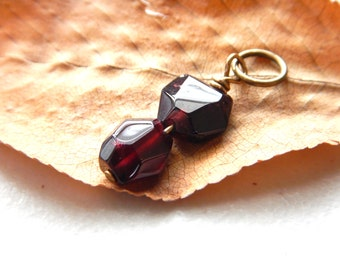 Small Rustic Garnet Nugget Pendant - Brass Wire / Gothic February Birthstone, Dark Red Burgundy Unique Nugget Shape, Affordable Gift for Her