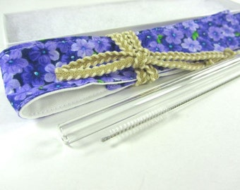 Forget Me Not- Purple Flowers Straw Pouch, Glass Straw, and Cleaning Brush- Customize!- FREE Gift Wrap
