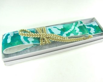 Teal Green Tie Dye Straw Pouch, Glass Straw, and Cleaning Brush- Customize!- FREE Gift Wrap