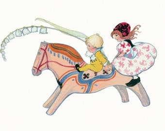 Holiday Card - Children Ride Dala Horse - Christmas New Year God Jul or Blank