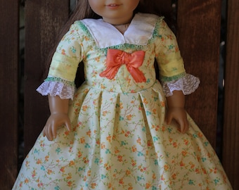 Felicity's yellow Indian Summer dress and linen lace pinner cap. for 18in American girl dolls