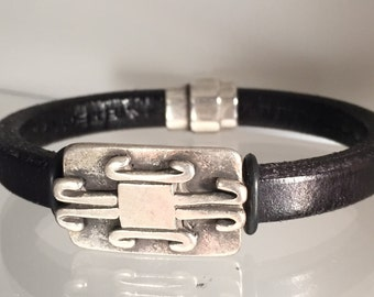 Black and Silver Leather Bracelet
