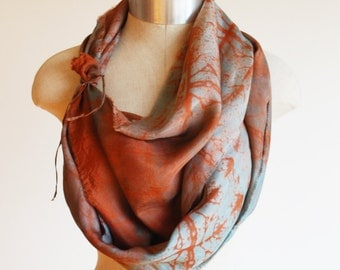 mysterious scarf, silk shawl, rustic elegance, copper and slate