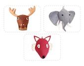 Stuffed Animal Sewing Pattern, DIY, Felt Faux Taxidermy, Elephant, Fox, Reindeer, Discount Bundle Buy 3 Get One 1/2 Off