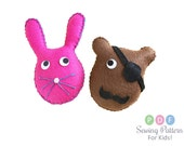 Easy Sewing Pattern For Kids, DIY Plush Felt Pirate Bear and Bunny Stuffed Animal Softie, Easy Plushie, Craft Project