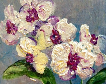 Orchids Painting Orchids  Floral Original Art 6 x 6""