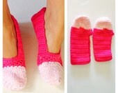 Pink Crochet House Shoes, Slippers, Size 8, Hand Made in the U S A, Item No. Bgde05