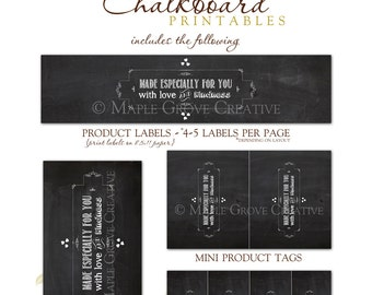 Chalkboard Printable Tags for Crochet, Knit, Handmade Items