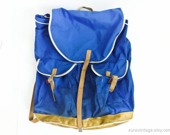 Vintage 70s Large Blue Backpack Blue Rucksack Travel Excursion