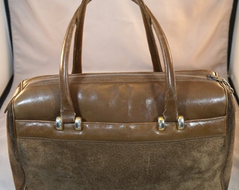 Vintage Morris Moskovitz MM Doctor's Bag Style Handbag Purse Brown Leather and Suede