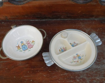 Antique Baby's Warming Dish And Bowl Set, Dutch Baby Collectible, Baby's First Bowl, Divided Dish
