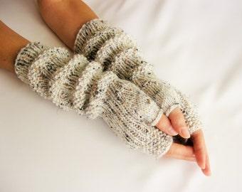 SALE Long Fingerless Gloves,Beige tweed, Merino Wool Mittens, Women Arm Warmers , Hand Knitted, Eco Friendly