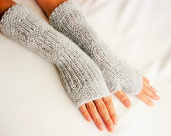LONG Fingerless Gloves, Light Gray,Merino Wool Mittens, Women Arm Warmers , Hand Knitted, Eco Friendly