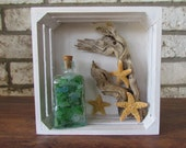 Coastal Shadow Box with Sea Glass, Driftwood, Starfish
