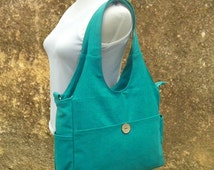 Holiday On Sale 10% off turquoise canvas hand bag, canvas messenger bag, diaper bag, tote bag for ladys