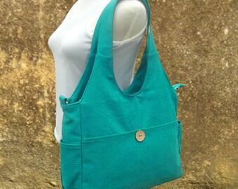 turquoise canvas hand bag, canvas messenger bag, diaper bag, tote bag for ladys
