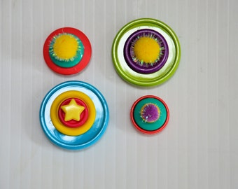 Button Pom Pom Magnets