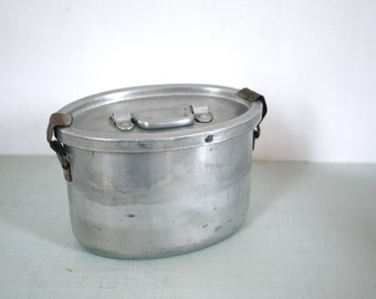 CLOSING DOWN SALE - 50% Off Vintage French Aluminium Lunch Pail by Le Grand Tetras